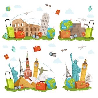 Icone di viaggio e diversi punti di riferimento. luoghi famosi del mondo isolano su bianco. set di illustrazioni vettoriali