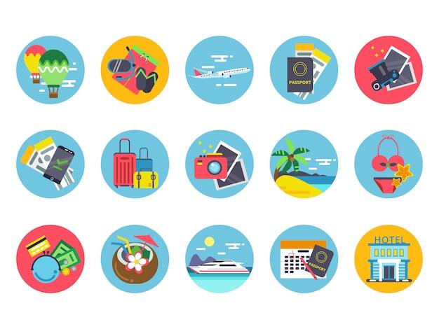 Icone di viaggio impostate in forme cerchio colorato. illustrazioni vettoriali in stile piatto