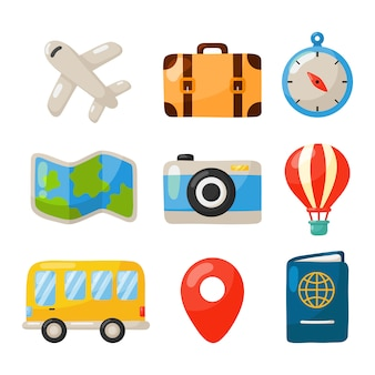 Icone di viaggio messe isolate