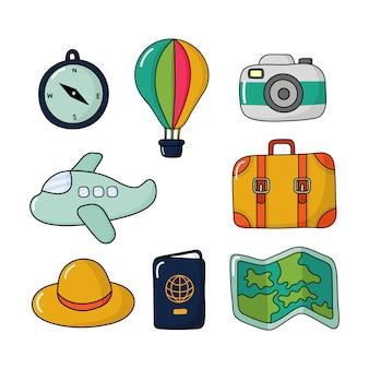 Icone di viaggio o insieme di elementi isolato. illustrazione vettoriale.