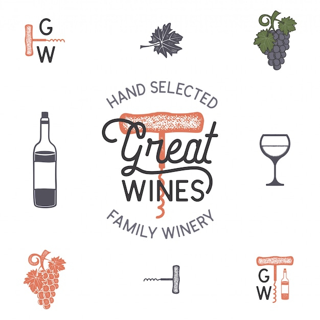 Icone di vino logo e cantina, elementi.
