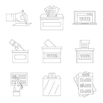 Icone di voto della scatola di voto di scrutinio messe