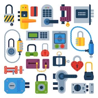 Icone differenti della serratura di porta della casa messe isolate
