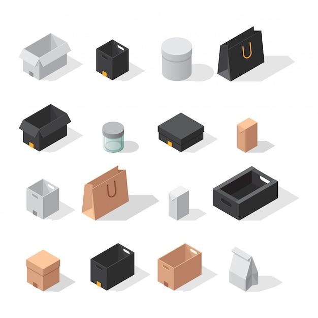Icone differenti di vettore della scatola isolate su fondo bianco