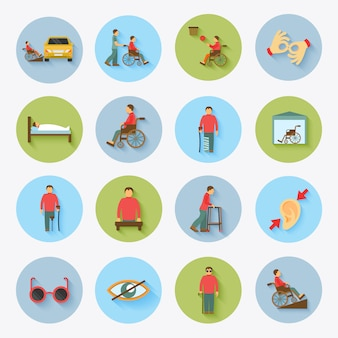 Icone disabili impostate piatte