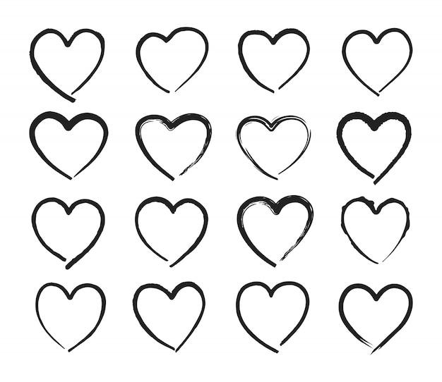 Icone disegnate a mano del cuore messe, simbolo di amore. collezione di cuori doodles abbozzato.