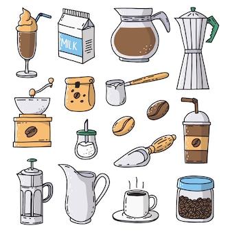 Icone disegnate a mano della caffetteria