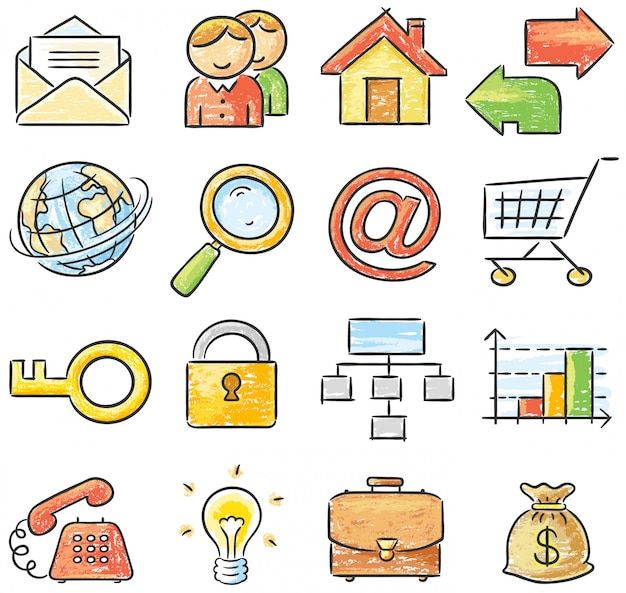 Icone disegnate a mano di affari e di web