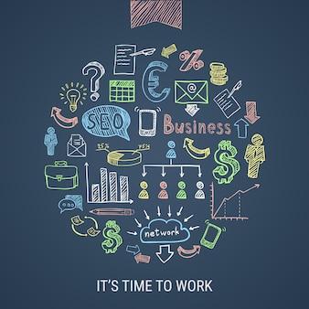 Icone disegnate a mano di tempo di lavorare