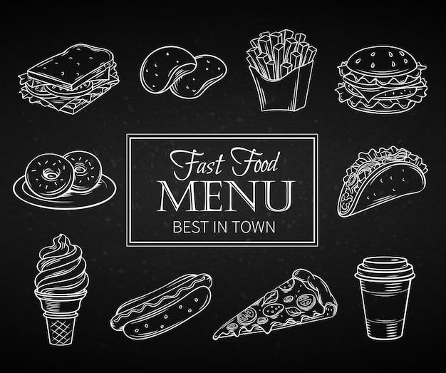 Icone disegnate a mano fast food.