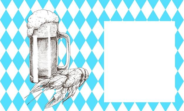 Icone disegnate a mano stabilite degli oggetti della birra di oktoberfest