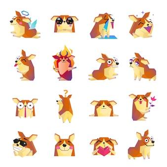 Icone divertenti del fumetto del cane di corgi messe