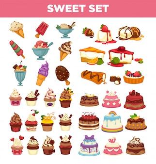 Icone dolci di vettore dei dessert della pasticceria dei dolci e dei bigné messe