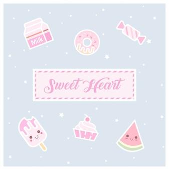 Icone dolci e carini di pasticceria e confetteria