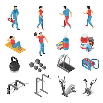 Icone e caratteri isometrici di forma fisica di salute messi
