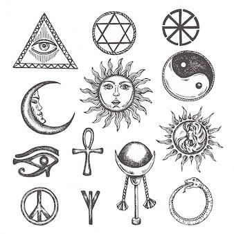 Icone e simboli della magia bianca, occulta, mistica, esoterica, muratori occhio della provvidenza.