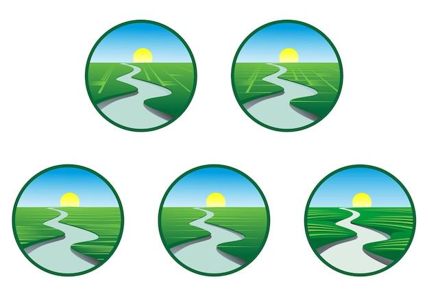 Icone e simboli ecologici e della natura isolati su bianco