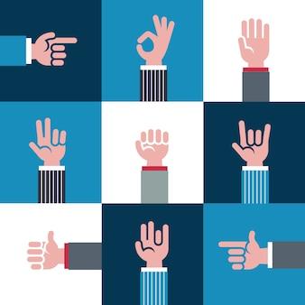 Icone e simboli, emoji, gesti di mani diverse, segnali di segnali