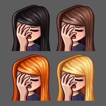 Icone emozione facepalm femminile con peli lunghi per social network e adesivi