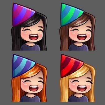 Icone emozione felice festa femminile con i capelli lunghi per social network e adesivi