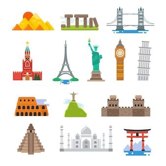 Icone famose dei punti di riferimento di vettore di viaggio del mondo di architettura