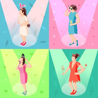 Icone festive isometriche di concetto 4 dei puntelli della cabina della foto con le ragazze che posano con gli accessori del partito