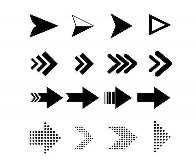 Icone freccia. icone di puntatori per elementi di design di navigazione web.