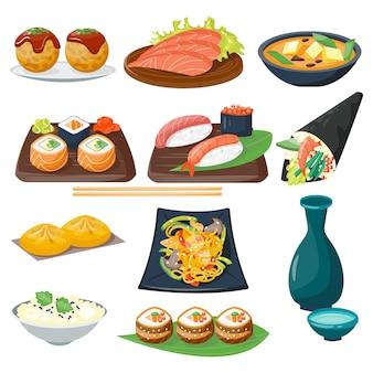 Icone gastronomiche sane piane dell'alimento tradizionale di cucina giapponese dei sushi e rotolo orientale della cultura del piatto del pasto dell'asia del riso del ristorante.