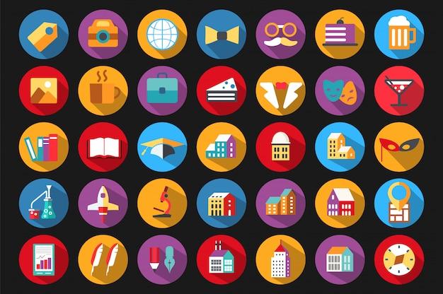 Icone in uno stile piatto sul tema dell'educazione