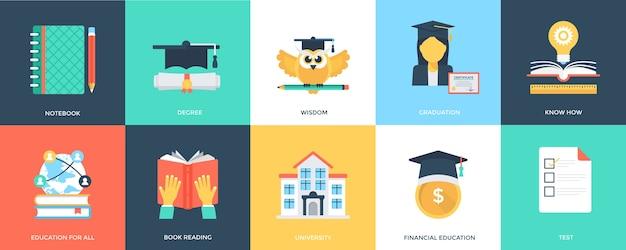 Icone innovative di educazione piatta