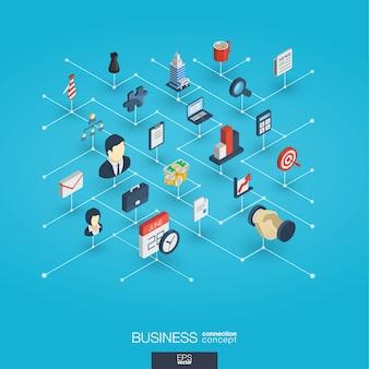 Icone integrate di web 3d di affari. concetto isometrico della rete digitale