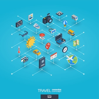 Icone integrate di web 3d di viaggio. concetto isometrico della rete digitale.