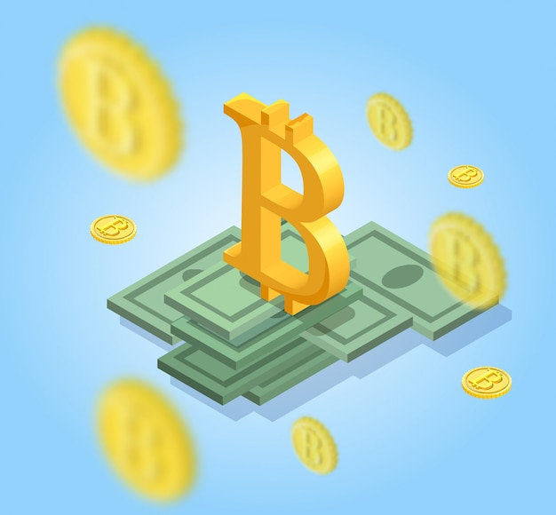 Icone isolate isometriche di bitcoin