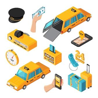 Icone isolate isometriche di servizio di taxi