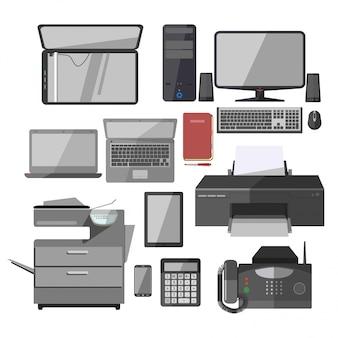Icone isolate vettore dei dispositivi dell'attrezzatura del lavoro d'ufficio messe