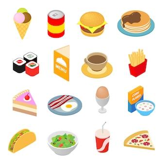 Icone isometriche 3d degli alimenti a rapida preparazione messe