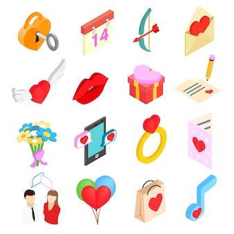Icone isometriche 3d dei biglietti di s. valentino messe