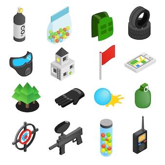 Icone isometriche 3d del gioco di paintball messe