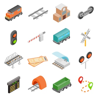 Icone isometriche 3d della ferrovia messe