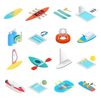 Icone isometriche 3d dello sport acquatico messe