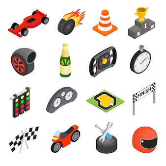 Icone isometriche 3d di corsa di automobile messe