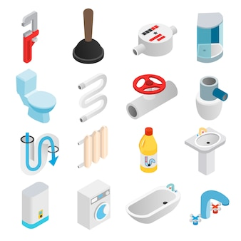 Icone isometriche 3d di ingegneria sanitaria messe