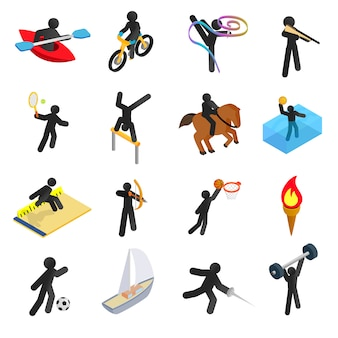 Icone isometriche 3d di sport di estate messe
