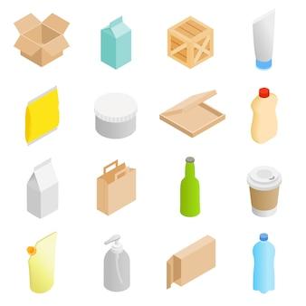 Icone isometriche d'imballaggio 3d messe