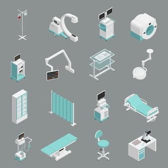 Icone isometriche dell'attrezzatura dell'ospedale messe