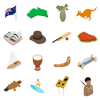 Icone isometriche dell'australia 3d impostate