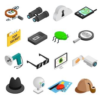 Icone isometriche della spia 3d messe