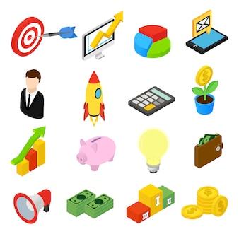 Icone isometriche di affari isolate su priorità bassa bianca