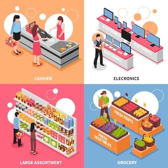 Icone isometriche di concetto del supermercato messe