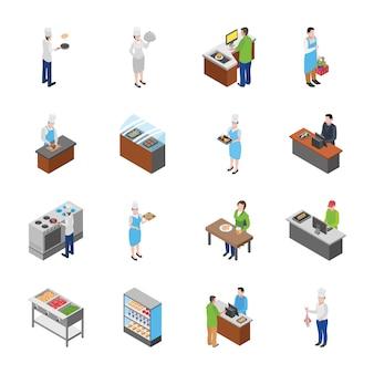 Icone isometriche di food court e pacchetto di mobili